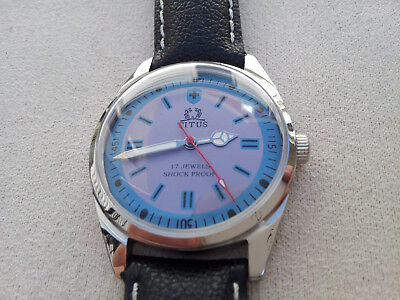 Vintage Titus Swiss 17 Jewels Hand Wind Up Sea Blue Lavender Sport Diver Watch