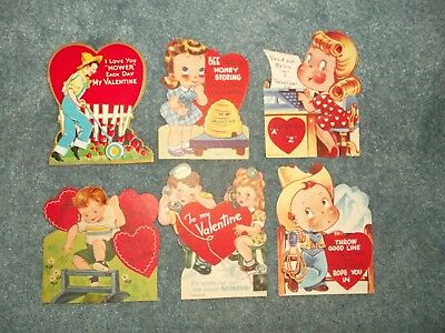 Lot Of 6 Assorted Vintage Old Antique Valentine Greeting Cards ~ Wow Take A Lqqk