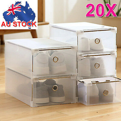 20PCS Storage Clear Drawer Shoe Boxes Stackable Foldable Case Home Wardrobe AU