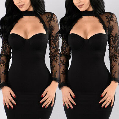 USA Women Bandage Bodycon Casual Long Sleeve Evening Party Cocktail Mini Dress
