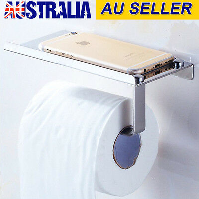 Stainless Steel Bathroom Toilet Tissue Roll Paper Phone Holder Wall Mount Shelf