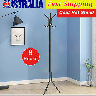 8 Hook Coat Hanger Stand 2-Tier Hat Clothes Metal Rack Tree Style Storage Black