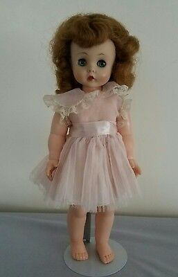 Vintage 1950s 50s Madame Alexander 1958 Kelly Doll Tagged Pink Party Dress 15in.