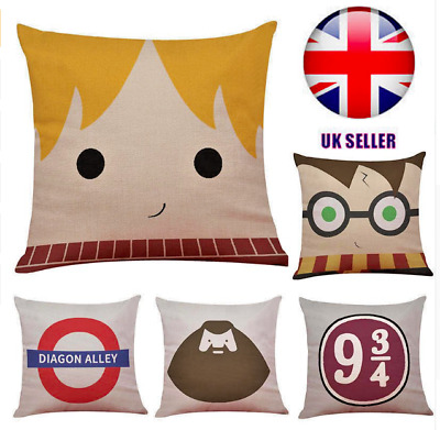 Harry Potter 45cm Cushion Cover Gift! Diagon Alley Platform 9 Hagrid Ron Weasley