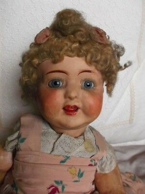Rare and Super sweet! Papier mache antique baby doll, attic condition, needs TLC