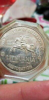 silver 1968 commemoritive coin presidents of lithuania50th anniversary
