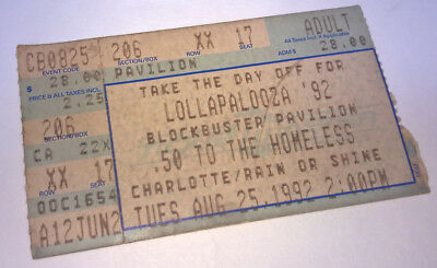 lollapalooza 1992 concert ticket stub aug 25 charlotte nc pearl jam rhcp picclick. Black Bedroom Furniture Sets. Home Design Ideas