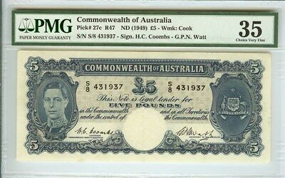 COMMONWEALTH OF AUSTRALIA ND(1949) 5 POUNDS NOTE PMG VF35 RARE!  P#27c