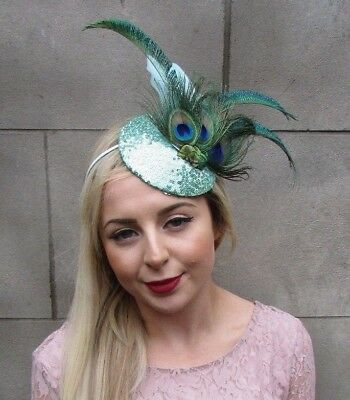 Mint Green Sequin Peacock Statement Feather Fascinator Races Pillbox Hat 4998