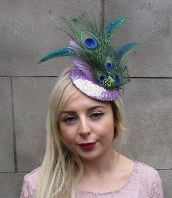 Lilac Light Purple Sequin Peacock Statement Feather Fascinator Races Hat 5000