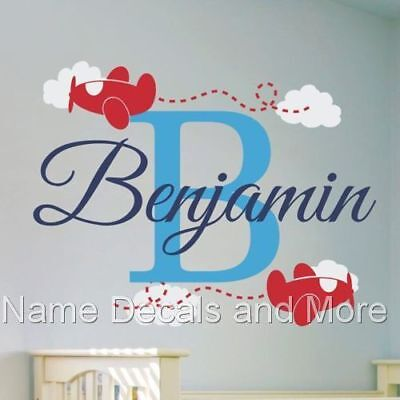 Boys Name Wall Decal with Airplane Decals and Clouds Boy Bedroom or Nursery Art