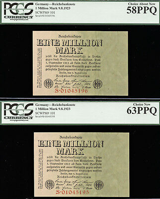Tt Pk 101 1923 Germany 1 Millionen Mark Pcgs 58Q & 63Q Set Of 2 Sequential Notes