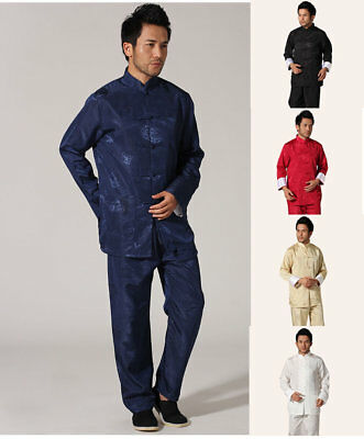 Uk Stock New Chinese Style Men's Kung Fu Suit Tai Chi Clothing Jacket With Pants