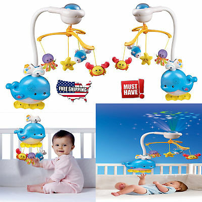 Baby Sleep Soothing Music Ocean Mobile Baby Infant Crib Bed Light 2in1 Baby Toy