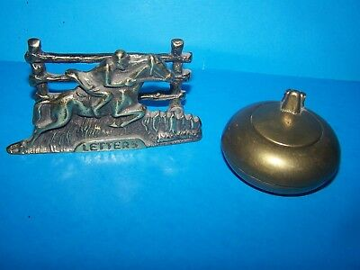 Antique Solid Brass Desk Set Race Horse Letter Holder & Ink Well