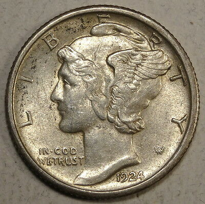 1924-S Mercury Dime, Original Choice Almost Uncirculated, Scarce!!  0226-44