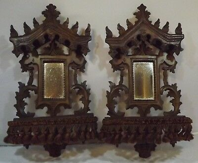 Pair Of Antique Black Forest Carved Folding Wall Shelves Brackets With Mirrors