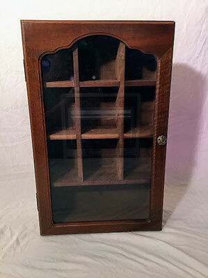 Vintage 1983 Atari Wooden Curio Hanging Cabinet Video Games Etched Glass
