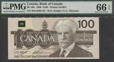 "TT PK BC-60c 1988 CANADA $100 ""SIR ROBERT BORDEN"" PMG 66 EPQ GEM UNC NONE FINER!"