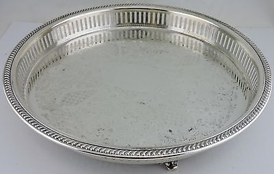 Vintage Silver Plate Footed Round Tray Cut Out Rims Engraved Bristol Poole