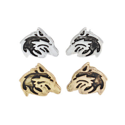 Women Lovely Wolf Head Earrings Metal Animals Ear Studs 1 Pair Fashion Jewelry