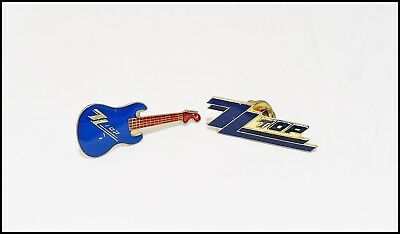 ZZ Top Lot Of 2 80's Enamel Pins Pinbacks Billy Gibbons Mini Guitar