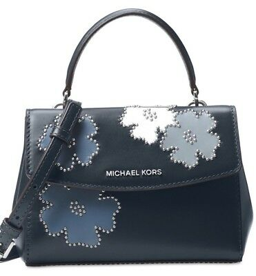 9a20d8f45d67c New Michael Kors Ava XS Mini Crossbody saffiano leather bag navy admiral  floral