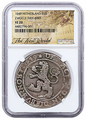 1649 Netherlands Silver New York Lion Dollar NGC VF20 Exclusive Label SKU52194
