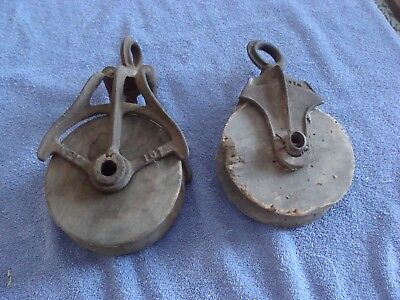 Antique Pair, Cast Iron & Wood, Primitive Single Wheel Barn Pulleys
