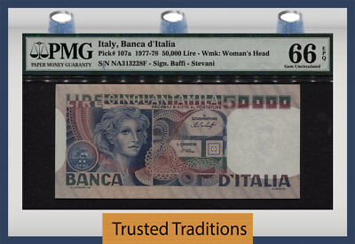 TT PK 107a 1977-78 ITALY 50000 LIRE PMG 66 EPQ GEM UNCIRCULATED ONLY ONE FINER!
