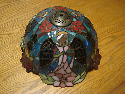 Vintage Artisan Leaded & Multi-Colored Stained Glass Lamp Shade W/ Three Angels
