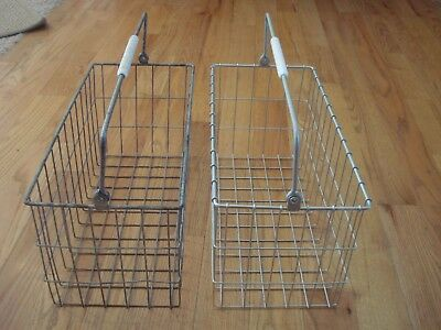 2 Matching Vintage Metal Wire Baskets W/Handles Industrial 19 x 9 x 8