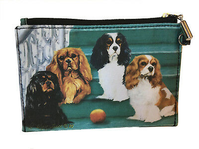 NEW Cavalier King Charles Spaniel Zippered Pouch Coin Purse Makeup Bag Dogs Pups