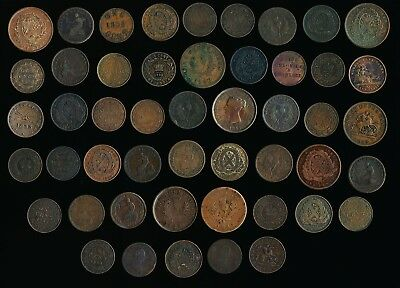 49 Old Canada Tokens & Lg. Cents > Interesting Lot > See Pictures >No Reserve