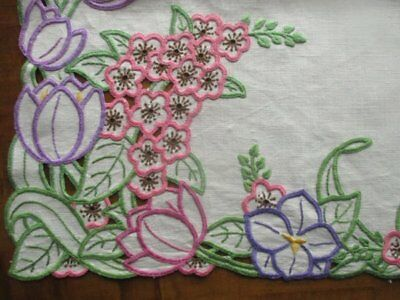 Stunning Vintage Cream Linen Hand Embroidered English Spring Flower Tablecloth
