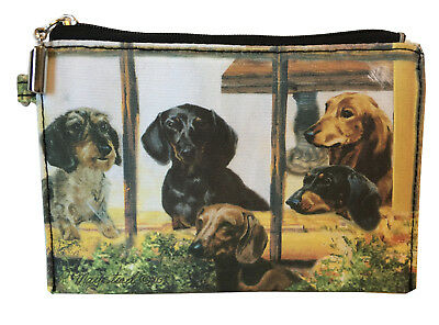 NEW Dachshund Zippered Pouch Coin Purse Makeup Jewelry ID Bag Doxy Dogs Maystead