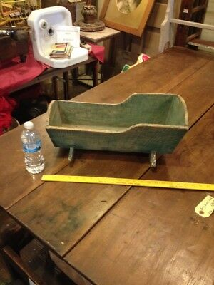 Antique Primitive Wood Wooden Doll Toy Cradle Old Green Paint Country Farm Aafa