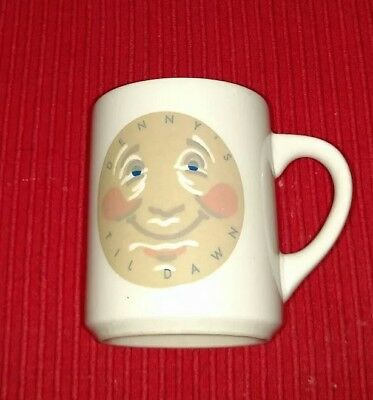 Denny's Til Dawn Coffee Mug Gray Moon Face-Smile Heat Activated