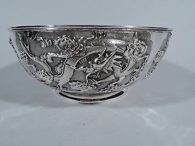 Export Bowl - China Trade Asian Antique - Dragon & Cloud - Chinese Silver