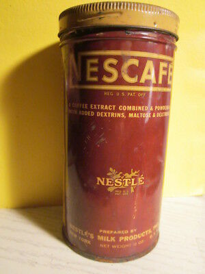 Vintage NESCAFE 12 oz Coffee Can 1930's advertising tin 6 inches tall