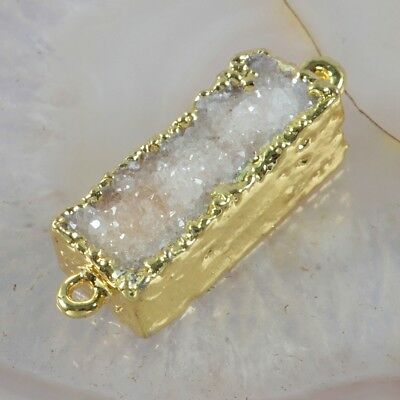 Natural Agate Druzy Geode Connector Gold Plated T052242