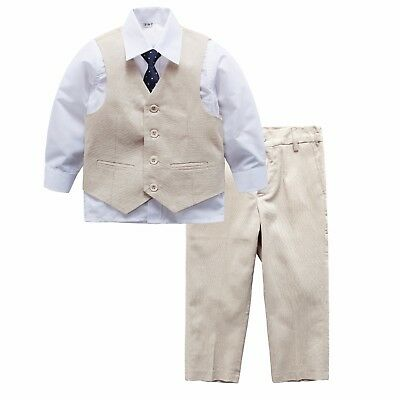 Page Boy Christening Formal Wedding 4pc Linen Blend Waistcoat Suit 6 Ms - 6 Yrs