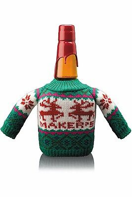 Makers Mark Bottle Coozie ~Christmas~ Ugly Sweater Bottle Cover