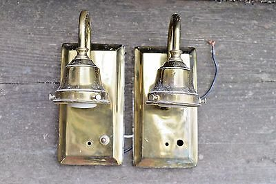 Vintage shiny brass single arm sconce pair with shade holders