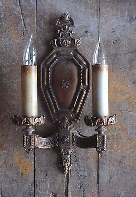 Antique ornate bronze two arm wall sconce circa 1920's