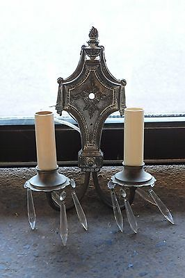 Antique two candle silver wall sconce with crystals circa 1920's