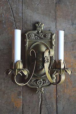 Antique gold painted brass two candle floral wall sconce 1920's