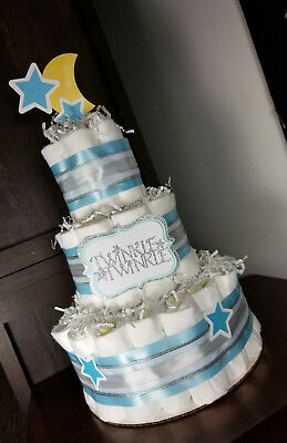 3 Tier Diaper Cake - Twinkle Twinkle Blue and Silver with Moon and Stars