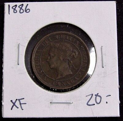 1886 Extra Fine Canada One Large Cent Coin