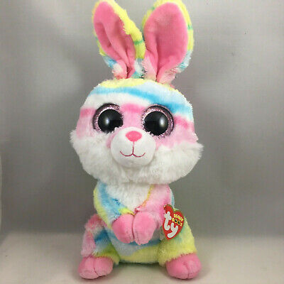 "Ty 9"" Medium LOLLIPOP Easter Bunny Rabbit Beanie Boos Plush w/ Heart Tags 2018"